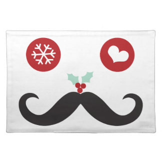 Funny Mustache Smiley Face Holiday Cloth Placemat
