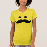 Funny Mustache Smiley Face Ladies T-Shirt