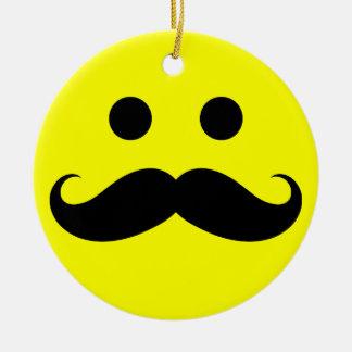 Funny Mustache Smiley Face Ornaments