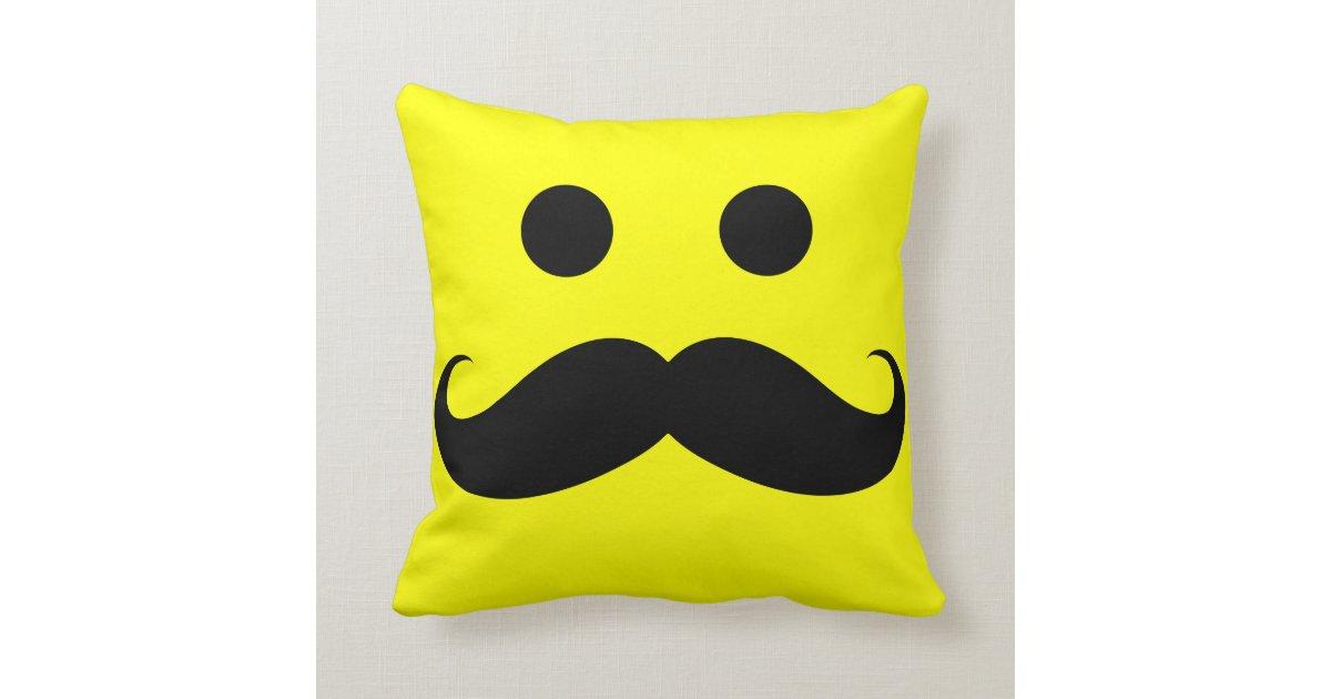 Funny Mustache Smiley Face Throw Pillow Zazzle