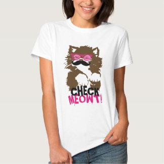 Funny Mustache Sunglasses Check Meowt! T-Shirt