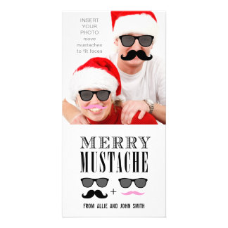 Funny Mustache Sunglasses Christmas Photo Greeting Card