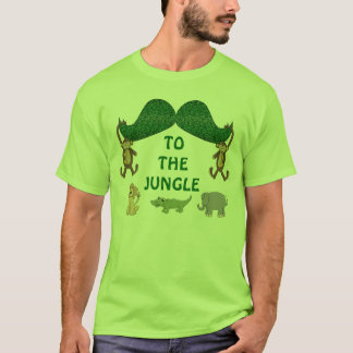 Funny Mustache to the Jungle with wild Animals. T-Shirt