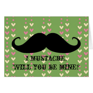 Funny mustache Valentine's Day hipster hearts card