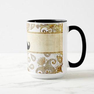 Funny Mustache. Vintage Ornamental Floral Pattern Mug