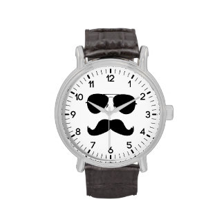 funny mustache with glasses wrist watch