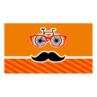 Funny Mustache with Orange Stripes Business Card Template