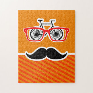 Funny Mustache with Orange Stripes Jigsaw Puzzle