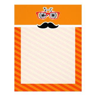 Funny Mustache with Orange Stripes Customized Letterhead