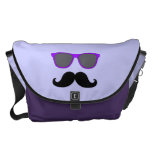 FUNNY MUSTACHE WITH PURPLE SUNGLASSES COURIER BAGS