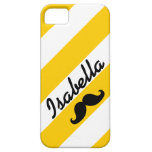 FUNNY MUSTACHE YELLOW STRIPES iPhone 5 COVER