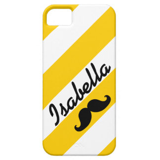 FUNNY MUSTACHE YELLOW STRIPES iPhone SE/5/5s CASE
