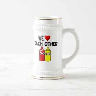 Funny Mustard Ketchup Couple Beer Stein
