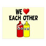 Funny Mustard Ketchup Couple Postcards