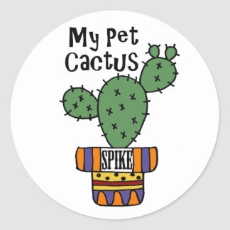 Funny My Pet Cactus Spike Cartoon Classic Round Sticker