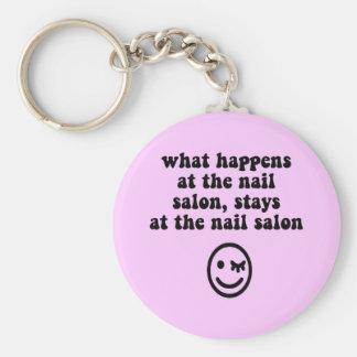 Funny nail salon basic round button keychain