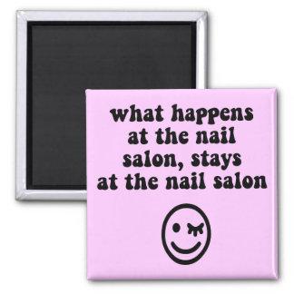 Funny nail salon fridge magnet