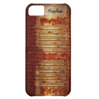 Funny Name Label on Rusty Tin Food Can Case For iPhone 5C