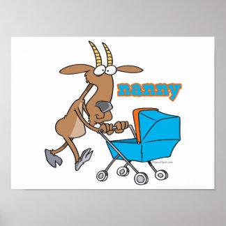 funny nanny goat pushing stroller cartoon print