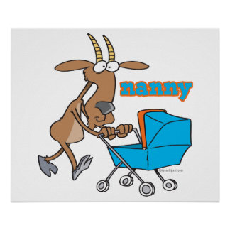 funny nanny goat pushing stroller cartoon poster