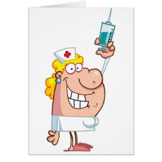 Funny naughty nurse cartoon personalized card