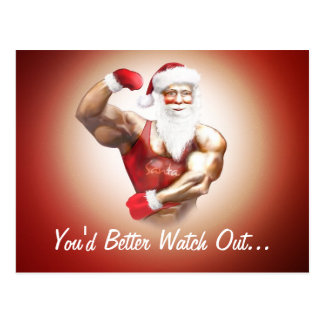 funny naughty strong muscular Santa Claus postcard