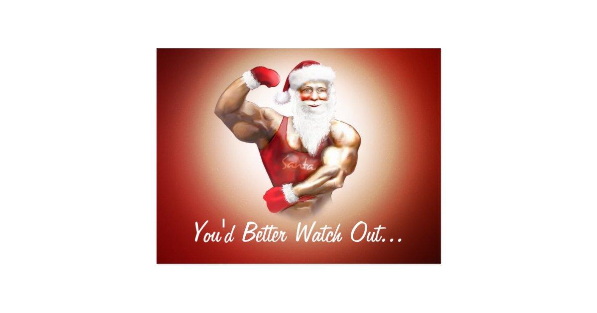 Funny Naughty Strong Muscular Santa Claus Postcard Zazzle