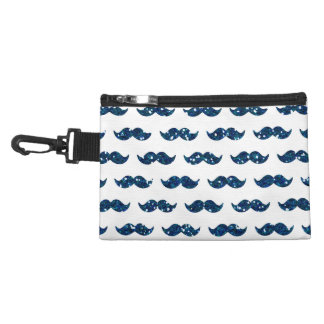 Funny Navy Blue Glitter Mustache Pattern Printed Accessory Bag