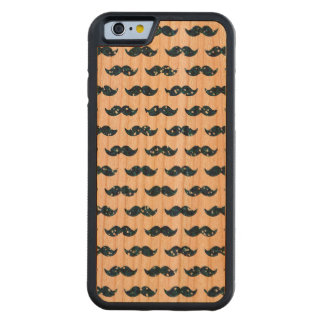 Funny Navy Blue Glitter Mustache Pattern Printed Carved Cherry iPhone 6 Bumper Case