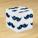 Funny Navy Blue Glitter Mustache Pattern Printed Party Favor Boxes