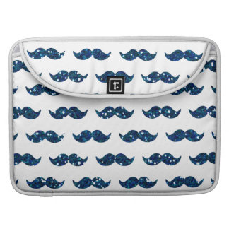 Funny Navy Blue Glitter Mustache Pattern Printed Sleeves For MacBooks