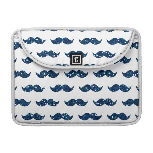 Funny Navy Blue Glitter Mustache Pattern Printed MacBook Pro Sleeves
