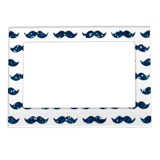 Funny Navy Blue Glitter Mustache Pattern Printed Magnetic Photo Frame