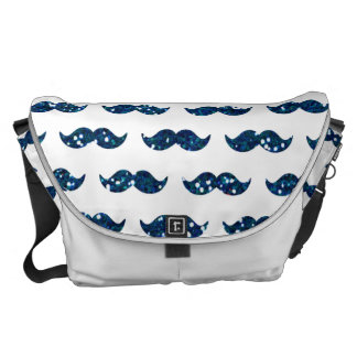 Funny Navy Blue Glitter Mustache Pattern Printed Courier Bag