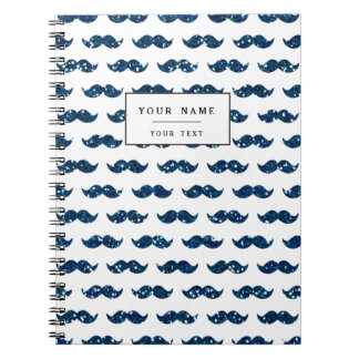 Funny Navy Blue Glitter Mustache Pattern Printed Notebook