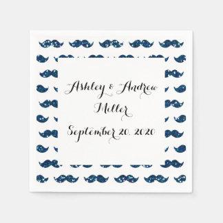 Funny Navy Blue Glitter Mustache Pattern Printed Paper Napkin