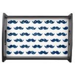 Funny Navy Blue Glitter Mustache Pattern Printed Serving Tray