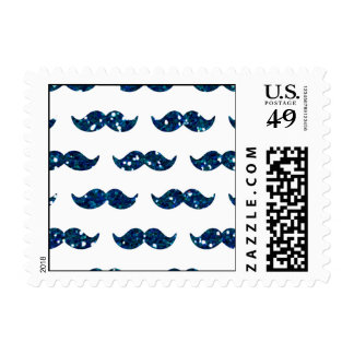 Funny Navy Blue Glitter Mustache Pattern Printed Postage