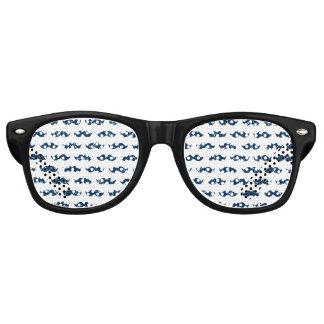 Funny Navy Blue Glitter Mustache Pattern Printed Wayfarer Sunglasses
