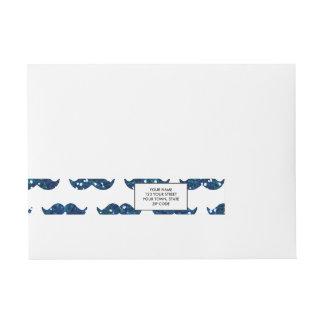 Funny Navy Blue Glitter Mustache Pattern Printed Wrap Around Address Label