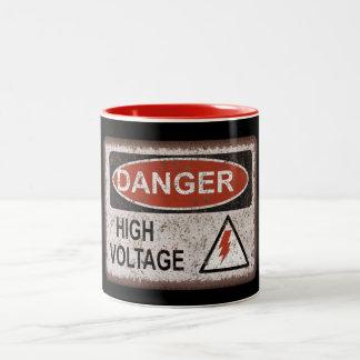 Funny Nerd Gift. Danger, high voltage. Crazy mug