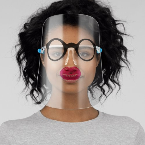 funny nerdy hipster glasses purple pink lips face shield
