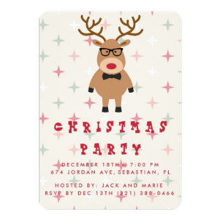 Funny Nerdy Reindeer Christmas Party Invitation at Zazzle