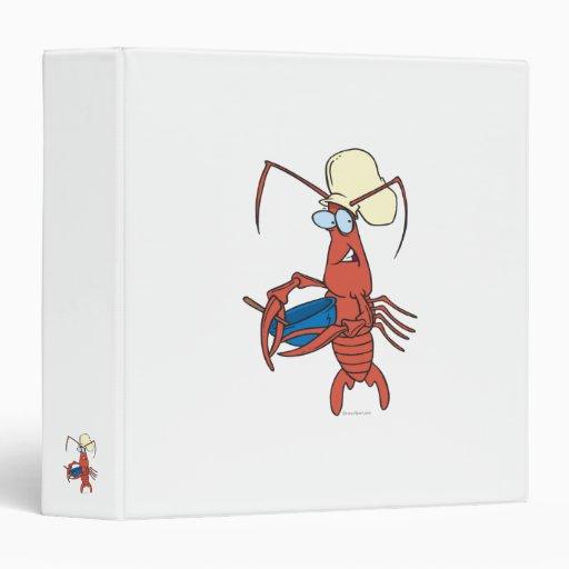 funny nervous lobster chef cooking binder