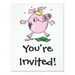 "funny nervous piggy bank 4.25"" x 5.5"" invitation card"