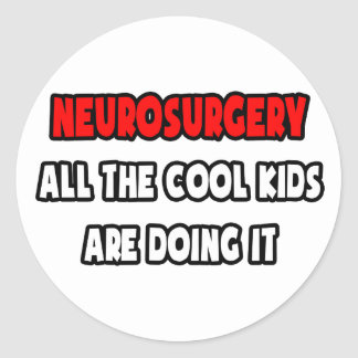 Funny Neurosurgeon Shirts and Gifts Round Stickers