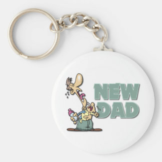 Funny New Dad Gift Basic Round Button Keychain