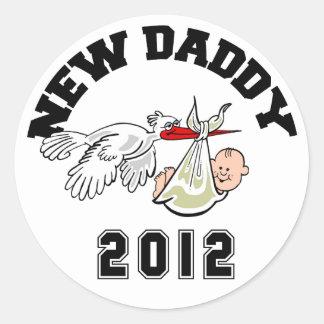 Funny New Daddy 2012 Classic Round Sticker