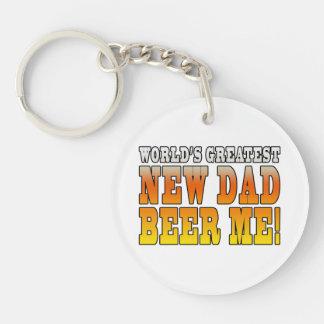 Funny New Fathers : Worlds Greatest New Dad Single-Sided Round Acrylic Keychain