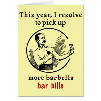 Funny New Year's Resolution Retro Beer Drinker Card